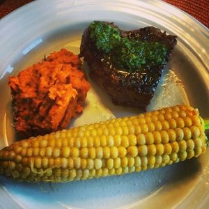 Grilled steak with chimichurri, roasted carrot, red pepper and onion mash and good ole corn on the cob!