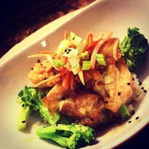 Orange Chicken served over jasmine rice with steamed veggies...YUM