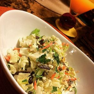 Cabbage salad with cilantro dressing, paired with a yummy passion fruit cocktail!