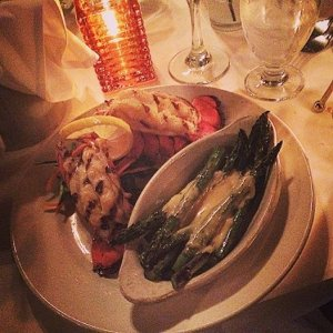 Birthday dinner of twin lobster tails, YUM!