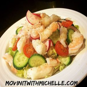 For dinner, shrimp over romaine hearts, avocado, cucumbers, radishes and cherry tomatoes!