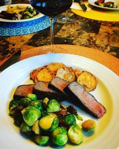 We served this with a hearty yet lighter Pinot Noir.  Delish!