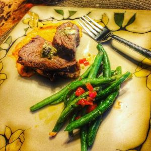 The pic doesn't do this meal justice, as my daughter said she LOVED the sweet potato puree!