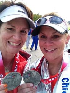 My sister and I at the finish line of the 2012 Chicago Marathon