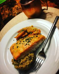 I served mine with roasted sweet potatoes, quinoa w/portabella mushrooms, sweet potatoes, garlic and onions.