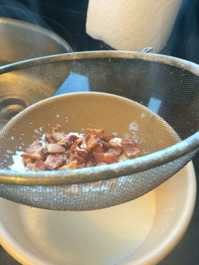 strain off bacon/grease