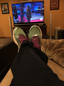 Doesn't everyone lounge around the house in their old marathon running shoes?