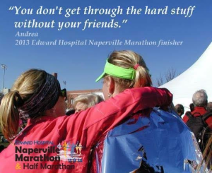 One of my dearest friends and me, at the finish of her first marathon.